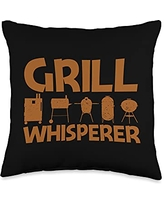Best Grill Barbecue Cooking Griller Chef Clothes Funny Gift for Men Women Grilling BBQ Smoked Meat Fan Throw Pillow, 16x16, Multicolor