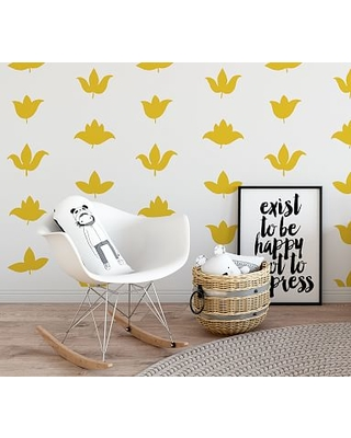 Flower Buds Wall Decal, Signal Yellow