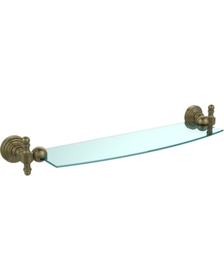 Allied Brass Retro Wave 18 in. Glass Shelf in Antique Brass