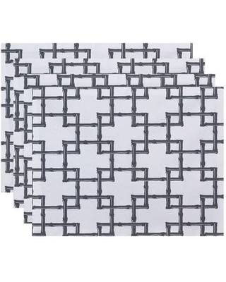 "Simply Daisy 18"" x 14"" Bamboo 2 Geometric Print Placemats, Set of 4"