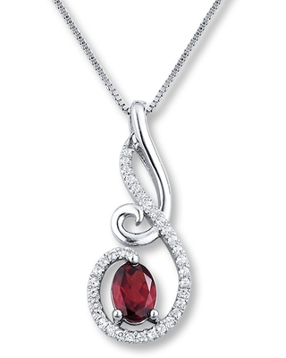 Garnet Necklace White Topaz Sterling Silver