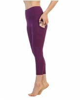 American Fitness Couture High Waist 3/4 Length Pocket Compression Leggings - Purple
