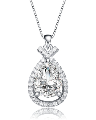 Collette Z Rhodium Plated Clear Cubic Zirconia Pear Pendant Necklace