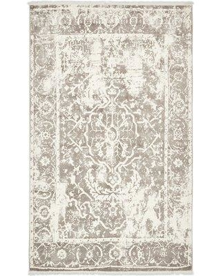 Bungalow Rose Sherrill Gray Floral Area Rug BNRS1204 Rug Size: Rectangle 5' x 8'