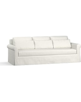 "York Roll Arm Slipcovered Deep Seat Grand Sofa 98"" with Bench Cushion, Down Blend Wrapped Cushions, Basketweave Slub Ivory"