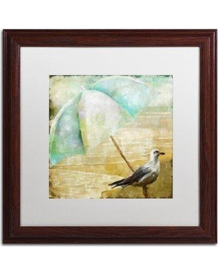 """Trademark Fine Art 'By the Sea IV' Framed Painting Print ALI4466-W1 Mat Color: White Size: 16"""" H x 16"""" W x 0.5"""" D"""