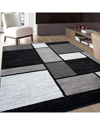 """Rugshop Contemporary Modern Boxes Area Rug 6' 6"""" X 9' Gray"""