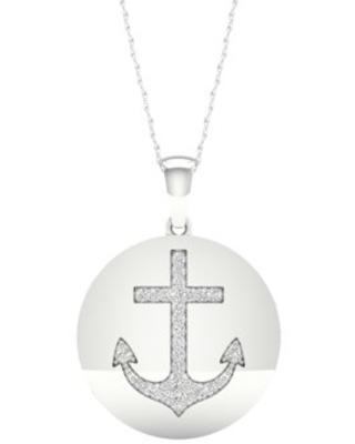 Imperial 1/10Ct TDW Diamond S925 Sterling Silver Hope Anchor Necklace (H-I, I2)