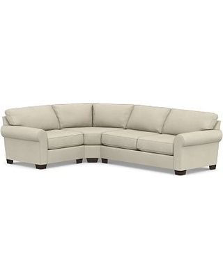 Buchanan Roll Arm Upholstered Right Arm 3-Piece Wedge Sleeper Sectional, Polyester Wrapped Cushions, Premium Performance Basketweave Oatmeal