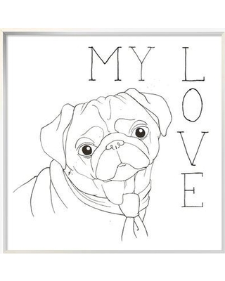 """East Urban Home 'Puppy Love Pug' Graphic Art Print on Canvas EUHE7807 Size: 25.6"""" H x 25.6"""" W Matte Color: No Matte Format: Silver Framed Canvas"""