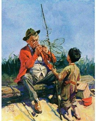 """Marmont Hill Tangled Fishing Line by WM. Meade Prince Painting Print on Wrapped Canvas MH-SEPSP-152-C Size: 39"""" H x 30"""" W x 1.5"""" D"""