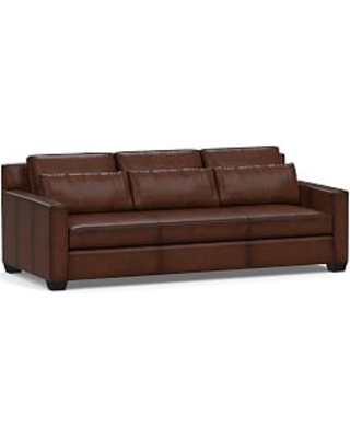 """York Deep Seat Square Arm Leather Grand Sofa 95"""" with Bench Cushion, Down Blend Wrapped Cushions, Burnished Walnut"""
