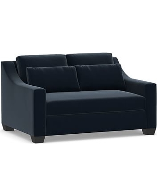 """York Slope Arm Upholstered Deep Seat Loveseat 60"""" with Bench Cushion, Down Blend Wrapped Cushions, Performance Plush Velvet Navy"""