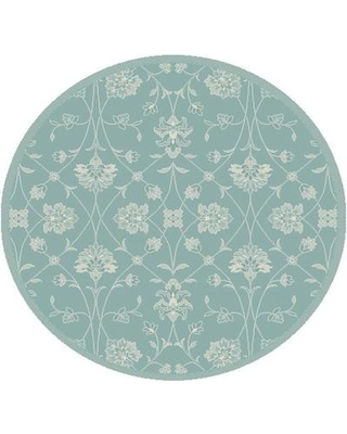 Winston Porter Paula Blue Floral Indoor/Outdoor Area Rug WNPR4521 Rug Size: Round 5'3""