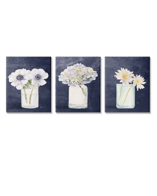 Discover Deals On Stupell Industries Farmhouse Flower Bouquets Navy Blue White Painting Canvas Wall Art Design By James Wiens