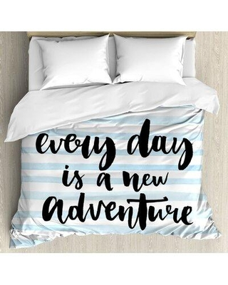 16 Off East Urban Home Inspirational Quotes Every Day Is A New Adventure Calligraphy Text Watercolor Stripes Print Duvet Cover Set Fuii2310 Size Queen