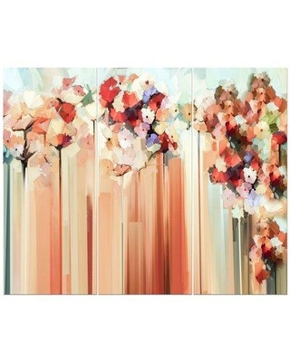 East Urban Home 'Abstract Floral' Oil Painting Print Multi-Piece Image on Wrapped Canvas FCIV4949