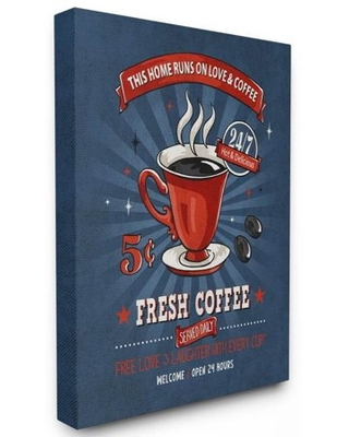 Stupell Industries Fresh Coffee Family Vintage Comic Book Design Canvas Wall Art by Ester Kay