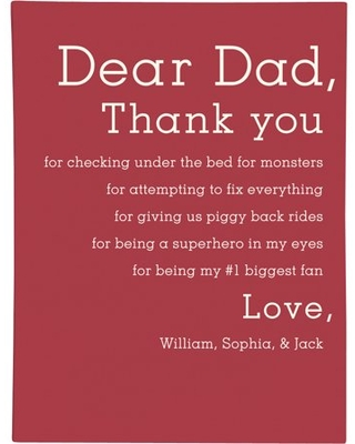 Personalized RedEnvelope Dear Dad Gallery Wall Art 12x16 Blue
