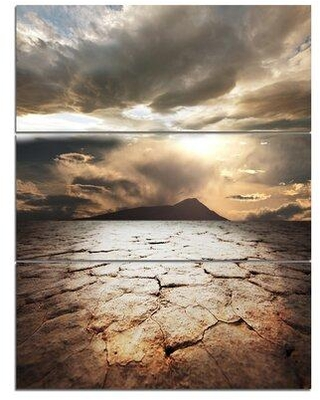 """Design Art 'Drought Land w/ Cloudy Sunset' 3 Piece Photographic Print on Wrapped Canvas Set, Canvas & Fabric in Brown/Gray, Size Large 33""""-40"""""""