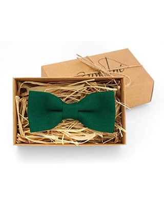 Green pretied wedding bow ties for men as groomsmen gift available with matching pocket square made from eco-friendly linen/toddler bow ties for ring bearer and unique gift for husband or boyfriend