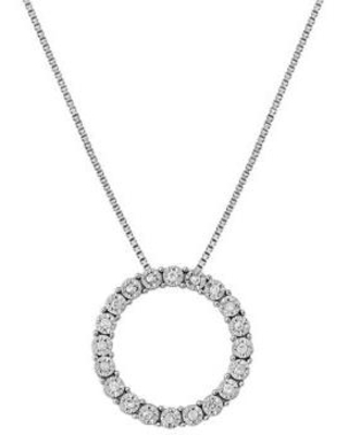Belk & Co. Silver 1/10 ct. t.w. Diamond Round Pendant Necklace in Sterling Silver
