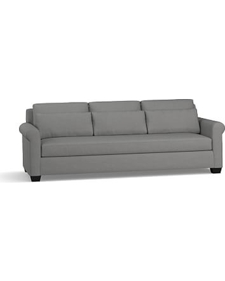 """York Roll Arm Upholstered Deep Seat Grand Sofa 98"""" with Bench Cushion, Down Blend Wrapped Cushions, Basketweave Slub Charcoal"""