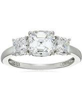 Platinum-Plated Sterling Silver Asscher-Cut 3-Stone Ring made with Swarovski Zirconia (3 cttw), Size 8