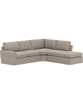 Pearce Square Arm Slipcovered Left 3-Piece Bumper Wedge Sectional, Down Blend Wrapped Cushions, Performance Everydayvelvet(TM) Carbon