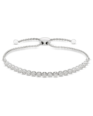 Jared The Galleria Of Jewelry Diamond Bolo Bracelet 1/4 ct tw Round Sterling Silver