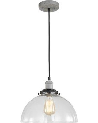 Breakwater Bay Glaze 1-Light Dome Pendant BKWT7792 Finish: Painted Gray Shade Color: Clear Seedy Ball