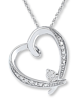 Jared The Galleria Of Jewelry Heart Necklace Diamond Accents 10K White Gold