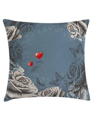"""Grunge Rose Petals Indoor / Outdoor Floral 28"""" Throw Pillow Cover"""