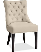 Hayes Tufted Dining Side Chair, Mahogany Frame, Twill Parchment