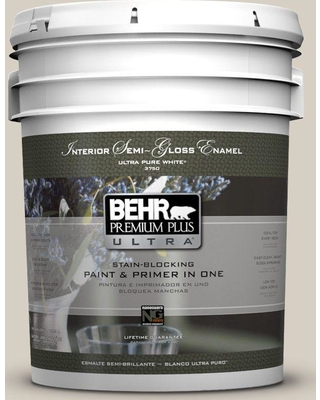 BEHR Premium Plus Ultra 5 gal. #bwc-24 Mocha Light Semi-Gloss Enamel Interior Paint and Primer in One