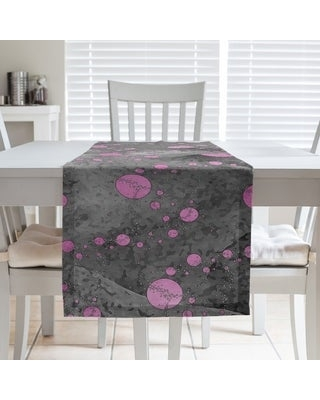 Monochrome Planets & Stars Table Runner (16 x 90 - Polyester - Pink & Black)