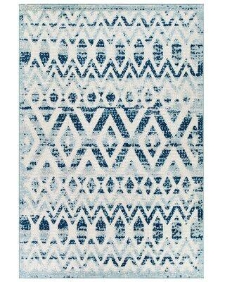 Bungalow Rose Mcneely Distressed Vintage Diamond and Chevron Moroccan Trellis Indoor/Outdoor Area Rug W000480746 Rug Size: Rectangle 8' x 10' Primary Color: Blue/Ivory
