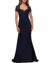 La Femme Lace Back Satin Trumpet Gown, Size 12 in Navy at Nordstrom
