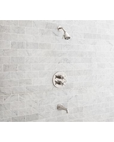 Warby Thermostatic Cross-Handle Bathtub & Shower Faucet Set, Polished Nickel Finish