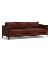 """Jake Leather Grand Sofa 95"""", Polyester Wrapped Cushions, Leather Signature Whiskey"""