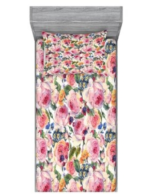 Shabby Flora Country Life with Flowers Florals Roses Orchids Buds Sheet Set East Urban Home