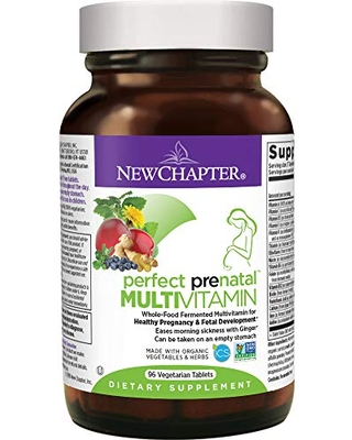 New Chapter Perfect Prenatal Vitamins, 96ct, Organic Prenatal Vitamins, Non-GMO Ingredients for Healthy Baby & Mom - Folate (Methylfolate), Iron, Vitamin D3, Fermented with Whole Foods and Probiotics