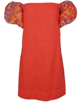 Women's Recycled Red Cotton Off Shoulders Mini Linen Dress With Embroide Puff Sleeves - Coral Reef Medium Haris Cotton