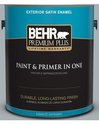BEHR Premium Plus 1 gal. #730F-4 Flint Smoke Satin Enamel Exterior Paint and Primer in One