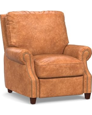 James Leather Power Tech Recliner, Down Blend Wrapped Cushions, Statesville Caramel