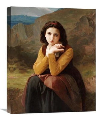 """Global Gallery 'Reflective Beauty. Mignon Pensive' by William-Adolphe Bouguereau Painting Print on Wrapped Canvas GCS-264620-22-142 / GCS-264620-30-142 Size: 30"""" H x 24.45"""" W x 1.5"""" D"""