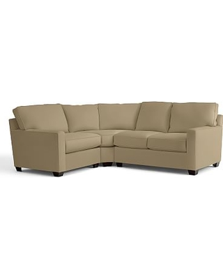 Buchanan Square Arm Upholstered Right Arm 3-Piece Wedge Sectional, Polyester Wrapped Cushions, Performance everydaysuede(TM) Light Wheat
