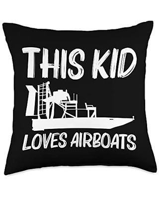 Best Airboat Riding Motorboat Propeller Designs Cool Gift for Kids Boys Airboating Watercraft Boat Throw Pillow, 18x18, Multicolor