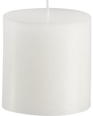 Unscented Pillar Candles, White - 3 x 3