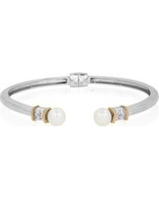 Belk & Co. Pearl Freshwater Pearl & White Topaz Bangle in Sterling Silver & 14K Yellow Gold
